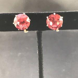 Vintage pink rhinestone clip earrings